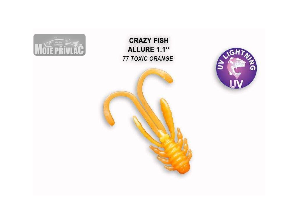 Gumová nástraha Crazy Fish Allure 2,7 cm 77 Toxic orange (10 ks)