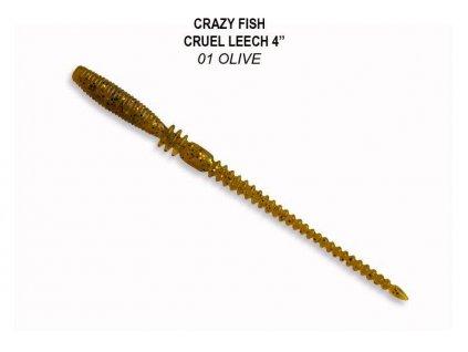 Gumová nástraha Crazy Fish Cruel Leech 10 cm 01 Olive (7 ks)