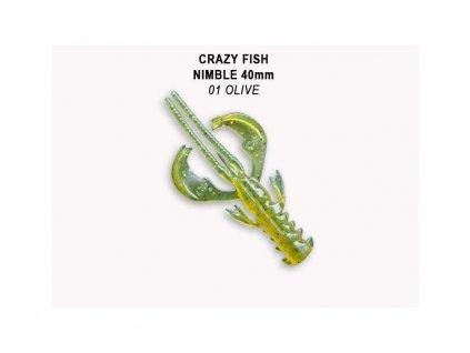 Gumová nástraha Crazy Fish Nimble 4 cm 01 Olive (9 ks)