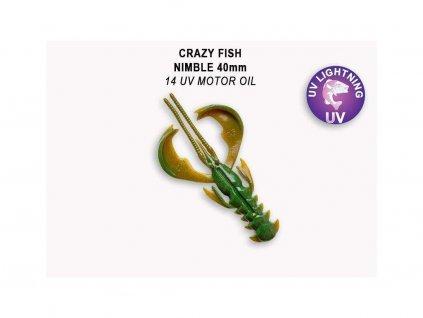 Gumová nástraha Crazy Fish Nimble 4 cm 14 UV Motor oil (9 ks)