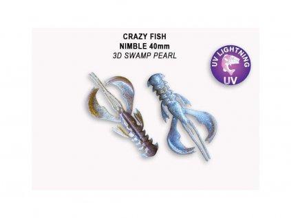 Gumová nástraha Crazy Fish Nimble 4 cm 3D Swamp pearl (9 ks)
