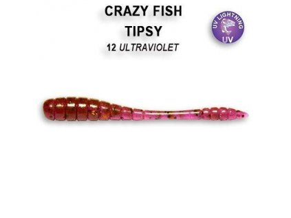 Gumová nástraha Crazy Fish Tipsy 5 cm 12 Ultraviolet (8 ks)