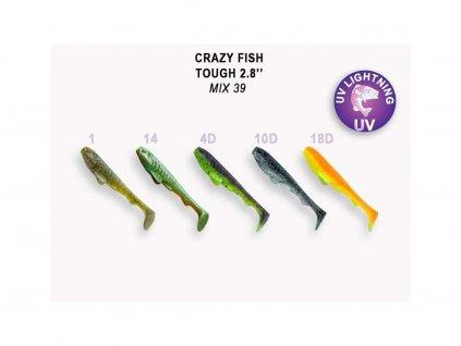 Gumová nástraha Crazy Fish Tough 7 cm Mix 39 (5 ks)