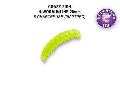 Gumová nástraha Crazy Fish Trout Baby H-Worm MF Floating 28mm 6 - Sýr (20ks)