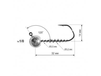 Jigová hlava Dnipro Lead Barbarian 125° hook size 1/0 with corkscrew, 5g (1ks)
