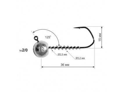 Jigová hlava Dnipro Lead Barbarian 125° hook size 2/0 with corkscrew, 3g (1ks)