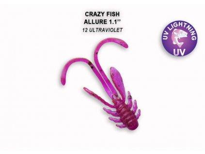Gumová nástraha Crazy Fish Allure 2,7 cm 12 Ultraviolet (10 ks)