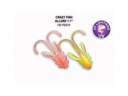 Gumová nástraha Crazy Fish Allure 2,7 cm 13D Peach (10 ks)
