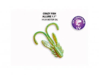Gumová nástraha Crazy Fish Allure 2,7 cm 14 UV Motor oil (10 ks)