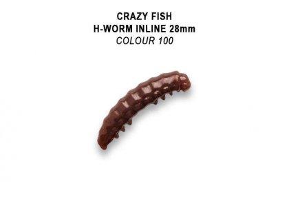 Gumová nástraha Crazy Fish Trout Baby H-Worm Inline MF Floating 28mm colour 100 - Sýr (20ks)