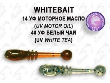 Gumová nástraha Crazy Fish Whitebait 2 cm 14 UV Motor Oil 40 UV White Tea (20 ks)