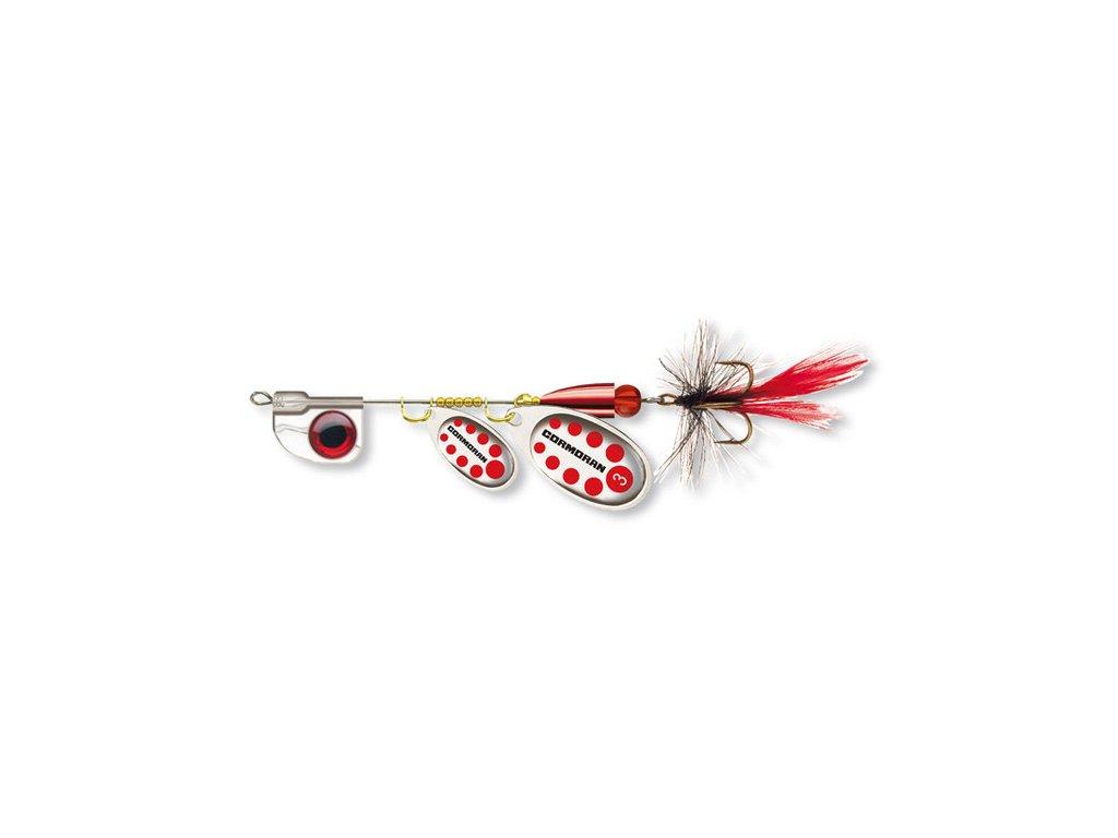 Rotační třpytka Cormoran Bullet AT Tandem s muškou stříbrná/červená