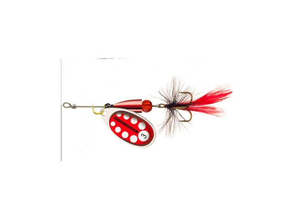 Rotační třpytka Cormoran Bullet s muškou červená/stříbrná