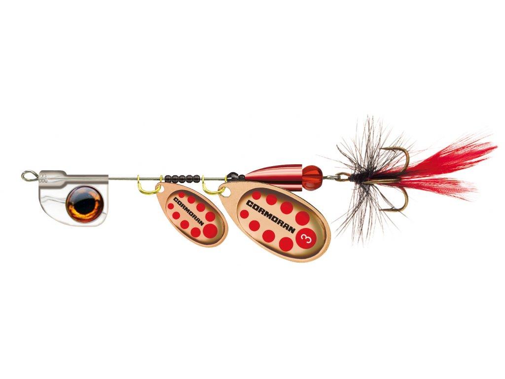 Rotační třpytka Cormoran Bullet AT Tandem s muškou měděná/červená