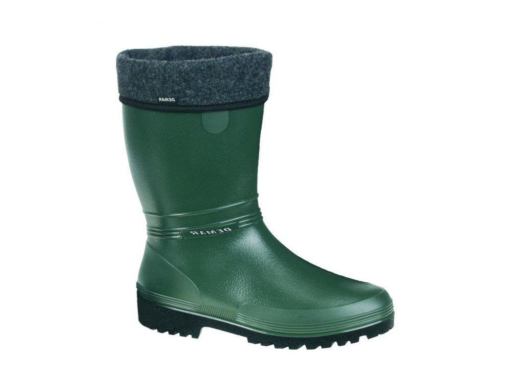 214 DEMAR Damske zateplene gumove holinky RAINNY LUX B zelene