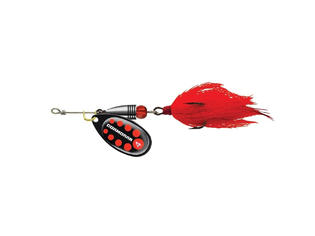 Bullet třpytka Bucktail s chvostem - černá s červenou tečkou