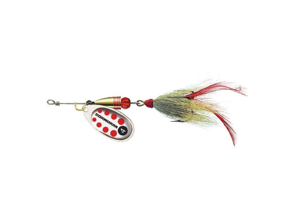 Bullet třpytka Bucktail s chvostem - stříbrná s červenou tečkou