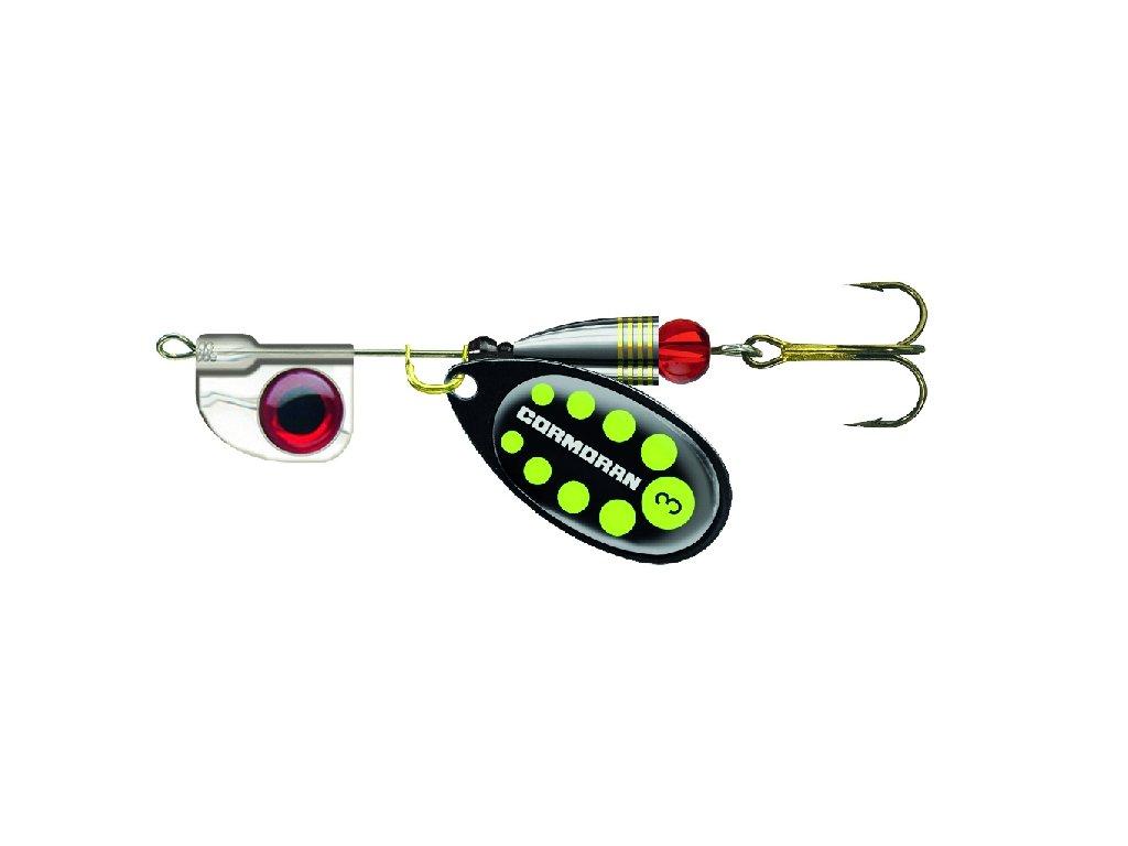 Rotační třpytka Cormoran Bullet AT černá - s vodítkem reflexní žlutá tečka