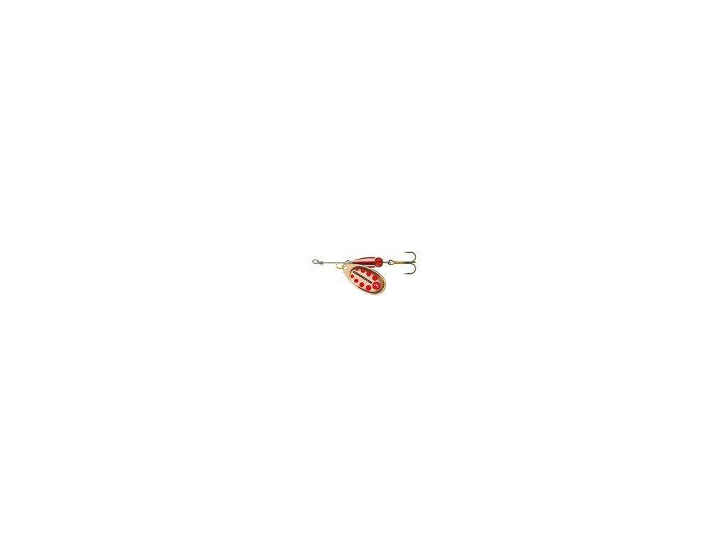 Rotační třpytka Cormoran Bullet bronzová, červené tečky