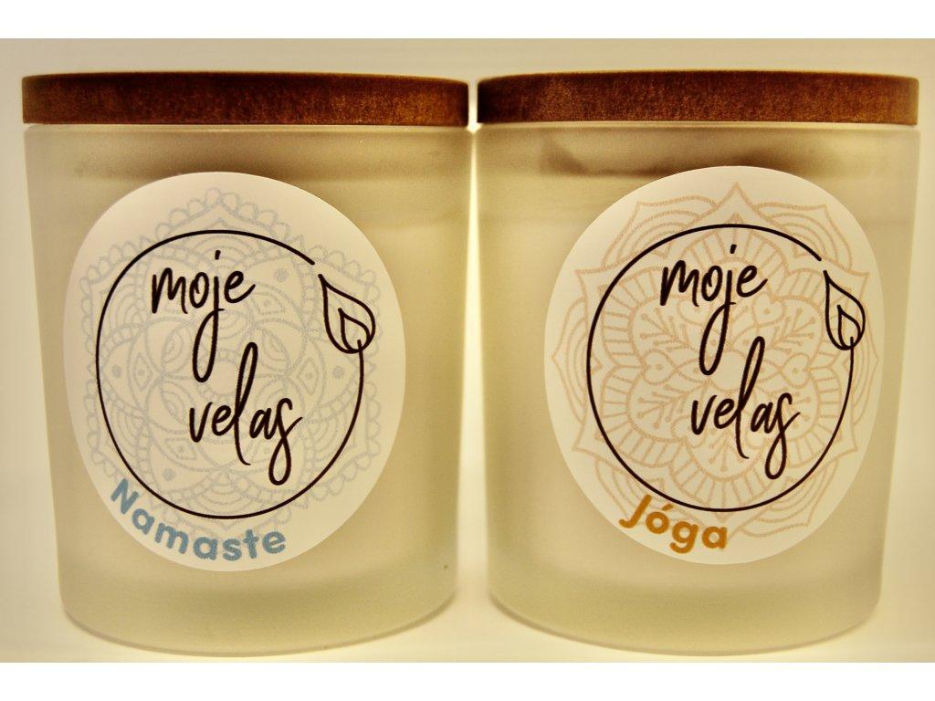 Výhodný balíček Jóga a Namaste přírodní, ručně vyrobené svíčky s jemnou přírodní vůní