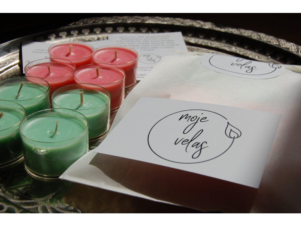 Přírodní, ručně vyrobené čajové svíčky ze sójového vosku s vůní melounu a okurky