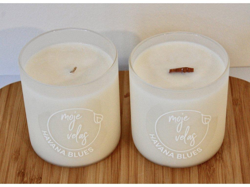 Havana Blues, přírodní  luxusní svíčka s vůní kubánského tabáku a dubového dřeva v černém matném skle