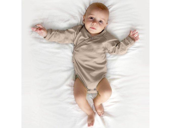 Zavinovací kojenecké body s dlouhým rukávem - zavinovací, různé barvy