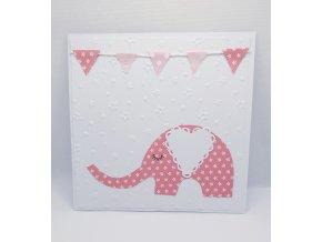 Přání růžový slon