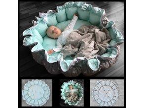 Kulaté hnízdo pro miminko s hvězdami růžové