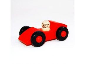 Červené dřevěné autíčko