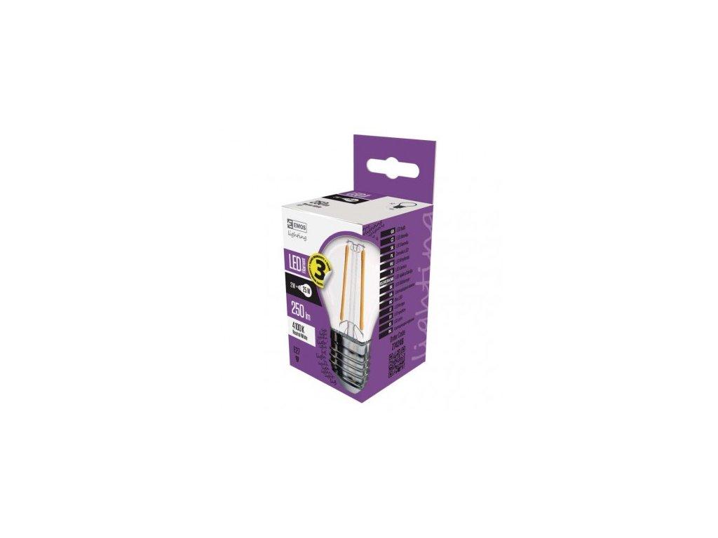 LED žárovka Filament Mini Globe 2W E27 neutrální bílá