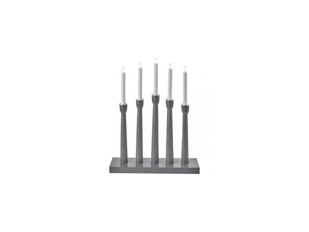 Svícen na 5× žárovičku E10 dřevěný šedý, 36×48,5cm, vnitřní
