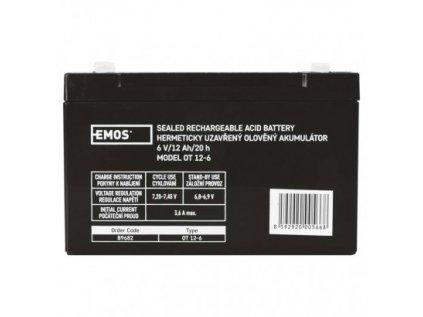 Bezúdržbový olověný akumulátor 6 V/12 Ah, faston 4,7 mm