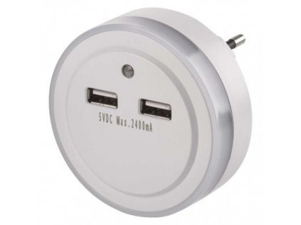 LED noční světlo P3313 do zásuvky s 2× USB