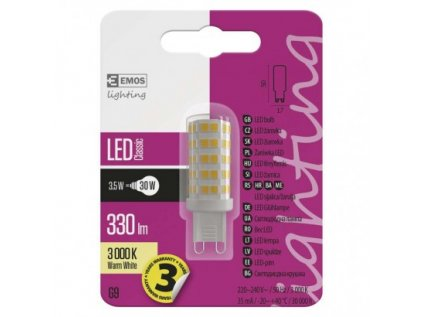 LED žárovka Classic JC 3,5W G9 teplá bílá