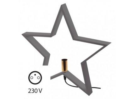 Svícen na žárovku E14 dřevěný šedý, hvězda, 48cm, vnitřní