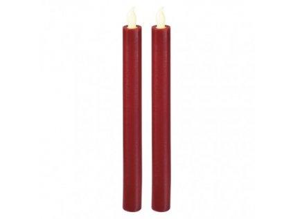 LED svíčky, 25cm, metalické červené, 2× AAA, teplá b., 2 ks