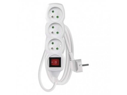 Prodlužovací kabel s vypínačem – 3 zásuvky, 1,2m, bílý