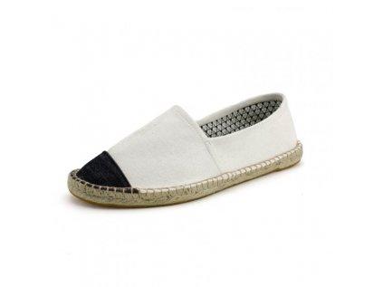Max 926 Espadrilky textilní boty Fancy - bílé s černou špičkou