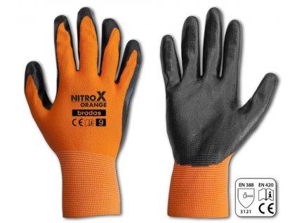 Rukavice pracovní polyester nitryl velikost 10