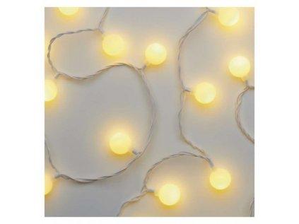 LED světelný cherry řetěz – kuličky 2,5 cm, 4 m, venkovní i vnitřní, teplá bílá, časovač