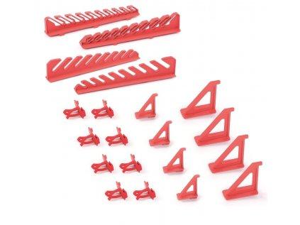 Sada držáků BINEER HOOKS na montážní panely, červené, 20 ks