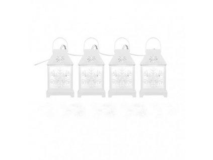 LED vánoční girlanda - bílé lucerny s vločkami, studená bílá
