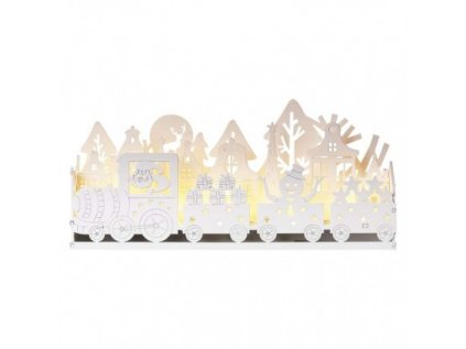 LED dekorace dřevěná – mašinka, vláček, 14 cm, 2x AA, vnitřní, teplá bílá, časovač