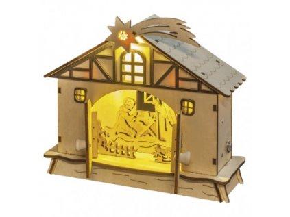 LED vánoční betlém, 17cm, 2× AA, teplá bílá, časovač