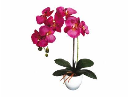 Orchidej v květníku umělá 7květů 1výhon 55cm