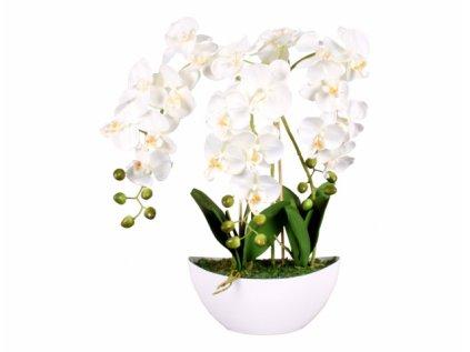 Orchidej v květníku umělá 21květů 3výhony 60cm