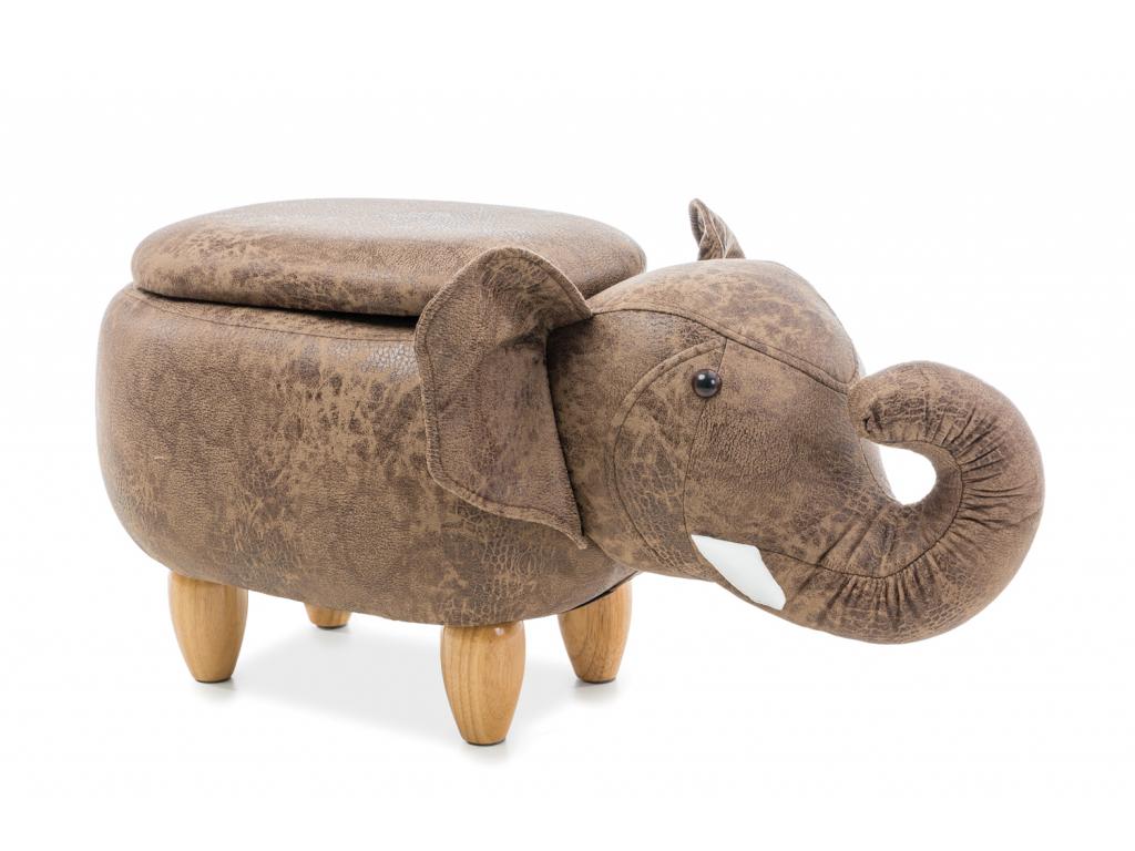 Taburetka Slon Sebastian hnedá