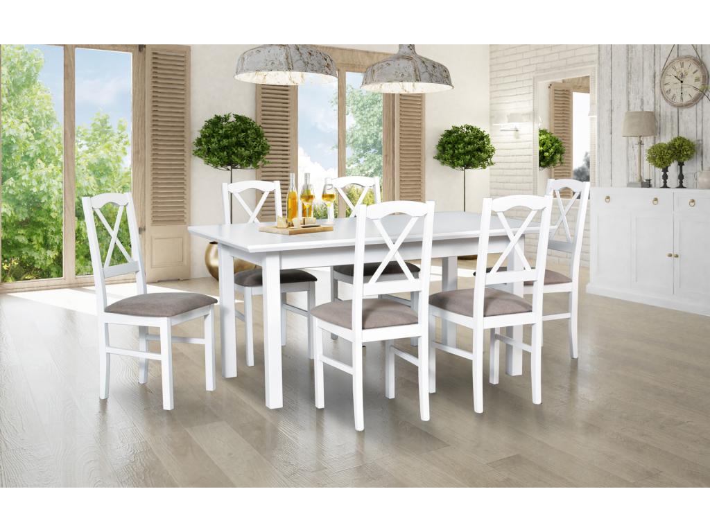 prakticky biely dreveny jedalensky set so stolickami WENUS 5 LS NILO 11 1+6