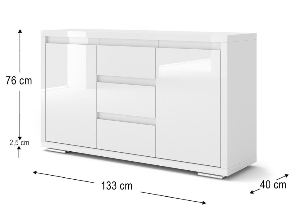 moderna biela leskla komoda NORDIC BIANCO 2